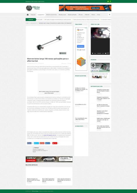 Monroe Axios lança 158 novas aplicações para o aftermarket
